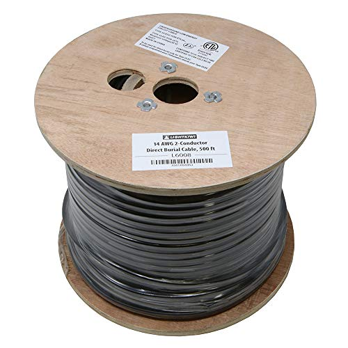 (Lightkiwi L6008 14AWG 2-Conductor 14/2 Direct Burial Wire for Low Voltage Landscape Lighting, 500ft)