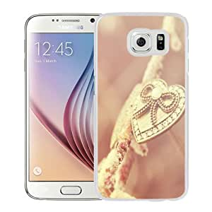 Beautiful Unique Designed Samsung Galaxy S6 Phone Case With Heart Necklace Gold Pink_White Phone Case