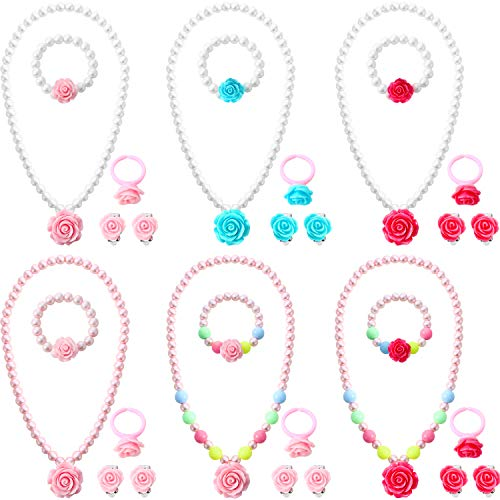 Bememo 6 Sets Princess Rose Pearl Necklace Bracelet Earrings Ring Pearl Jewelry for Girls (Elastic Pearl Ring)