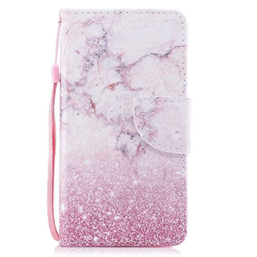 EUWLY Leather Wallet Case for Samsung Galaxy J5 2017(European Version),Ultra Thin Colorful Butterfly Flower Tree Animal Embossed Pu Leather Case Cover with Hand Strap for Samsung Galaxy J5 2017 + 1 x Pink Marble
