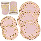 Pink and Gold Party Supplies Paper Plates and Cups Set for 50 Guest, Gold Metallic Foil Dots on Pink 50 Dinner Plates 50 Dessert Plates and 50 9 oz Cups for Baby Shower Birthday Disposable Dinnerware
