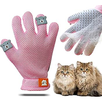ENGERWALL New Upgrade Pet Grooming Glove - Gentle Pet Hair Remover Mitt & Dog Cat Deshedding Brush Glove, Perfect Pet Massage and Bathing Glove for Dog or Cat with Long & Short Fur (Right Hand-Pink)