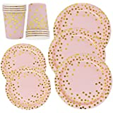 Pink and Gold Party Supplies Paper Plates and Cups Set for 50 Guest; Gold Metallic