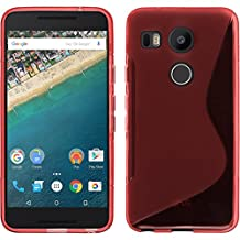 Silicone Case for Google Nexus 5X - S-Style red - Cover PhoneNatic + protective foils