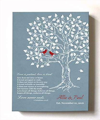 MuralMax - Personalized Family Tree & Lovebirds, Stretched Canvas Wall Art, Make Your Wedding & Anniversary Gifts Memorable, Unique Decor, Color Blue # 4 - 30-DAY - Size - 20x24 by MuralMax (Image #6)