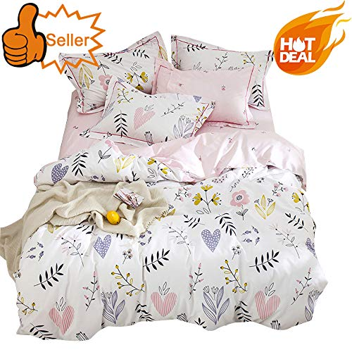 OTOB Soft Cotton Cartoon Pink Floral Duvet Cover Full Queen for Girls Kids Toddler Women Reversible Plant Flower Print Teen Bedding Sets Full Size, No Comforter ()