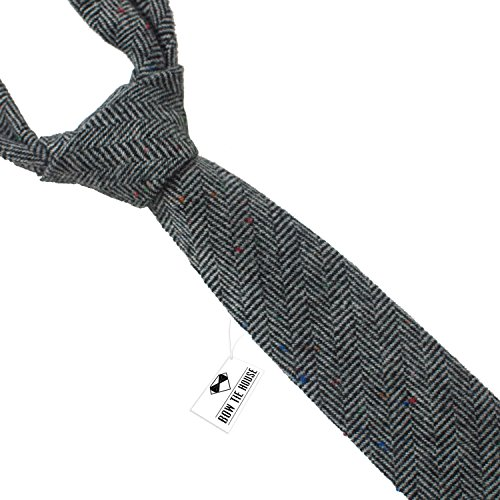 Woolen necktie slim shape & tweed pattern, by Bow Tie House (Grey)