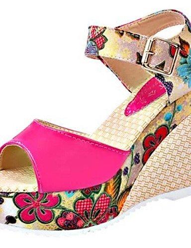 LFNLYX Zapatos de mujer - Tacón Cuña - Punta Abierta - Sandalias - Vestido - Semicuero - Azul / Rosa / Blanco / Beige White