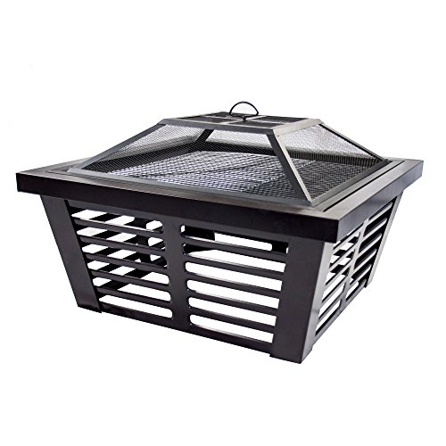 Pleasant Hearth OFW191S Hudson Square Steel, 34-Inch fire Pit, Wenge (Patio Fire Best Hearth And)