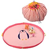 iDili Play Mat and Toy Storage Bag Large Size 60 Inches Diameter Polyester Material (Pink)