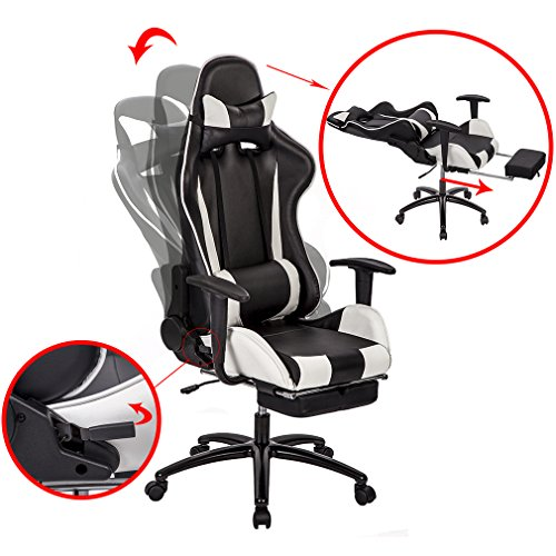 Office Chair High-back Recliner Office Chair Computer Chair Ergonomic Design Racing Chair by BestOffice (Image #2)