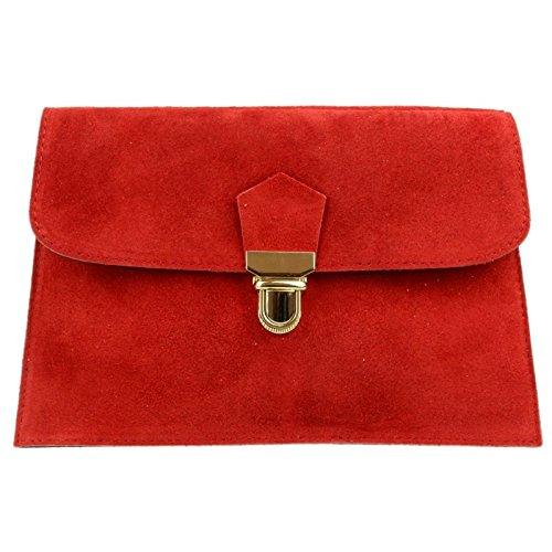 Craze Party London handbag Verapelle Clutch Purse Rebecca Italian Prom Clutch Brand Shaped Suede Genuine bag Large Envelope Clutch Red FFw7r1
