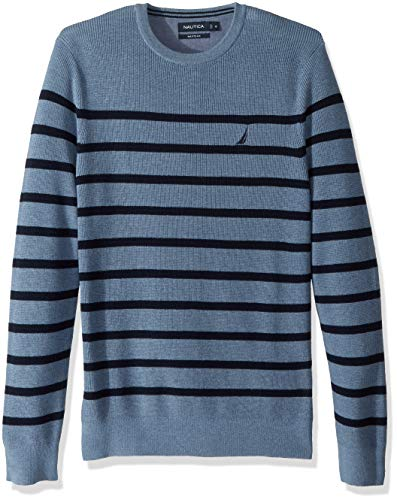 Nautica Men's Long Sleeve Striped Crew Neck Sweater, deep Anchor Heather, Large ()
