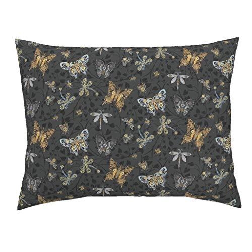 Steampunk Euro Knife Edge Pillow Sham Victorian Heart Thorn Cog Butterfly Dragonflies by Stitchyrichie 100% Cotton -