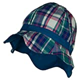 Jeanne Simmons Girl's Wavy Brim Plaid Cotton Bucket Hat - Blue OSFM