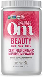 product image for Om Organic Mushroom Superfood Powder, Beauty: Hair Skin Nails, 1.1 Pound (250 Servings), Chaga, Cordyceps & Maitake, Antioxidants, Immune Support Supplement, 1.1 Pound (Pack of 1)