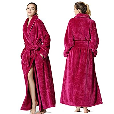 FAVORU Flannel Long Sleeve Nightgowns Full Length Bathrobes Plush Fleece Robe For Women Long