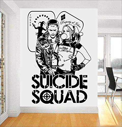 Qquende Peel and Stick Removable Wall Stickers Quotes Suicide Squad Harley Quinn & Joker Stickers for Kids Bedroom Boys Bedroom -