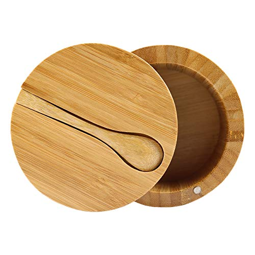 Bamboo Seasonings Box with Mini Spoon,Kitchen Salt Pepper Spice Cellars Storage Container with Swivel Magnetic Lid By HTB