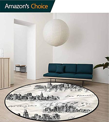RUGSMAT USA Traditional Round Area Rug Design,Metropolis Architecture Sketch Coffee Table Mat Non-Skid Living Room Carpet - Metropolis Cocktail
