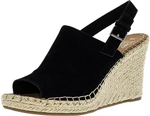 (TOMS Women's, Monica Wedge Espadrille (8, Black Suede))