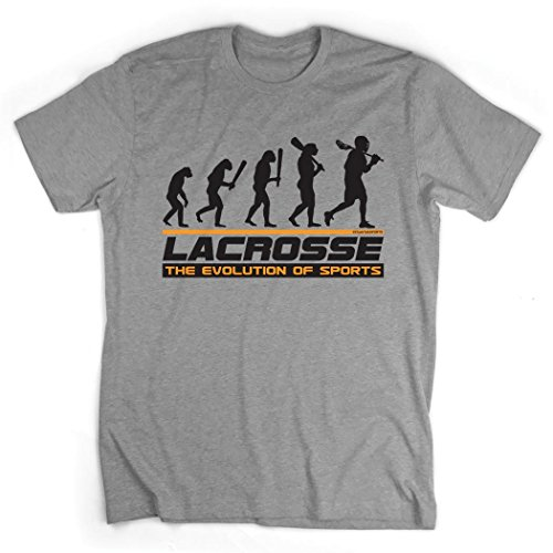 Lacrosse Evolution T-Shirt | Lax Tees by ChalkTalk SPORTS | Sport Gray | Adult Large ()