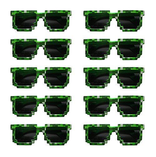 Pixels Make Perfect 8-Bit Pixelated Sunglasses Birthday Party Favors, Set of 10 - Make Sunglasses