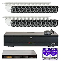 32 Channel NVR H.265/H.264 (24) 3.6mm Lens PoE IP Security Camera System 2x5T HD
