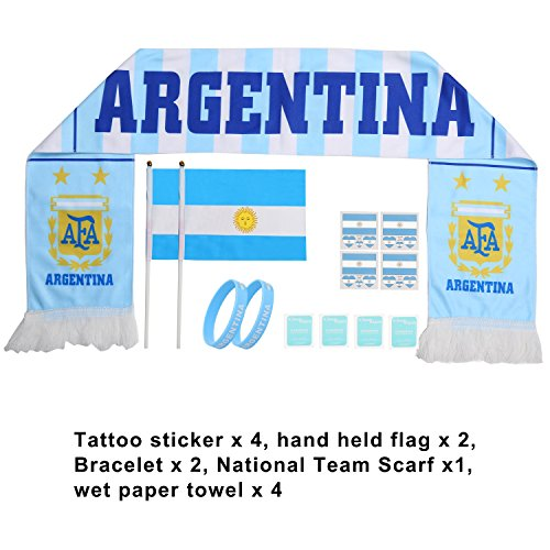 AOZKY Stick Flag Fans Scarf Tattoo Stickers Silicone Bracelet Football Suit Cheerleading Supplies for World Cup 2018, Olympic, Bar, Sports Events, Festival Events Celebrations