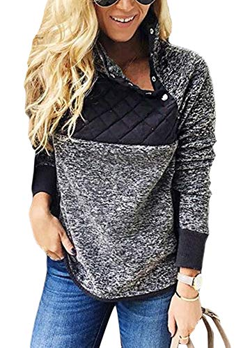 Ouregrace Womens Zip Neck Oversized Color Block Fleece Sweatshirt Pullover Top Outwear (S-XXL) (Charcoal, L(US 12-14))