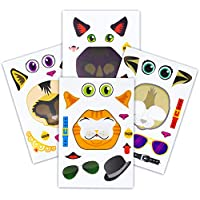 24 Make A Cat Stickers - Create Your Own Kitten Sticker With Various Faces - Includes Tabby, Siamese, Bengal, Black Cats - Great Kid