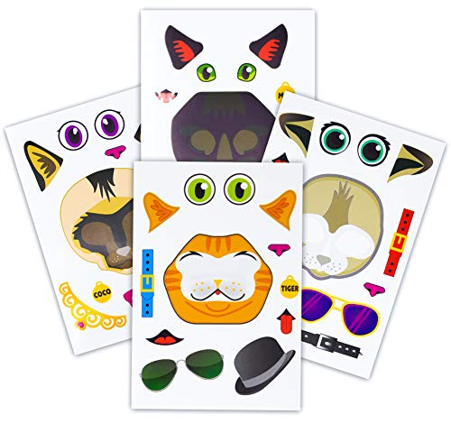 (24 Make A Cat Stickers - Create Your Own Kitten Sticker With Various Faces - Includes Tabby, Siamese, Bengal, Black Cats - Great Kid's Party Favor Or Activity - A Must Have For Kitty Lovers!)