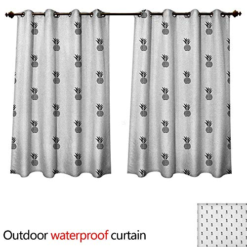 Anshesix Black and White Home Patio Outdoor Curtain Monochrome Pineapple Design Hawaiian Healthy Tropical Fruit Pattern W72 x L72(183cm x 183cm)