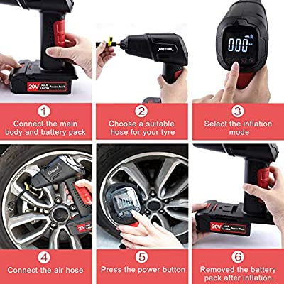 NASTIMA 20V 145PSI Portable Cordless Air Compressor Tire Inflator   55L/min   21.5V Home Power Adapter   2000mAh Rechargeable Li-ion Battery for Balls, Swimming Rings, Bicycles, Motorcycles and Cars: Automotive