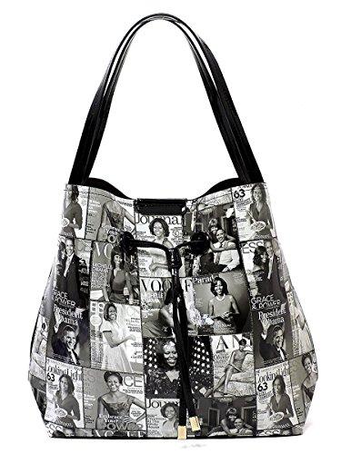 r Collage 3-in-1 Shoulder Bag Hobo Michelle Obama Handbag (6-Black/White) ()