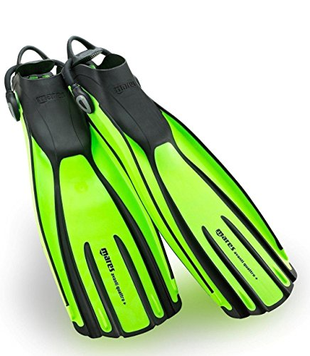 New Mares Avanti Quattro Plus Open Heel Scuba Diving Fins (Small) with New Style Bungee Heel Strap - Lime