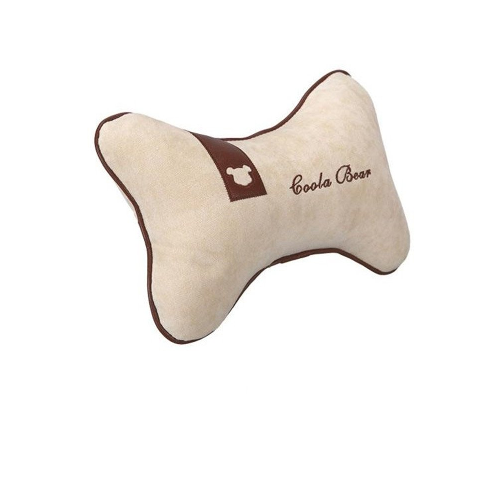 Car Neck Pillow Memory Foam Car Interior Supplies Cloth Material Simple Shape White Car Neck Pillow for Driving, Travel, Home and Office