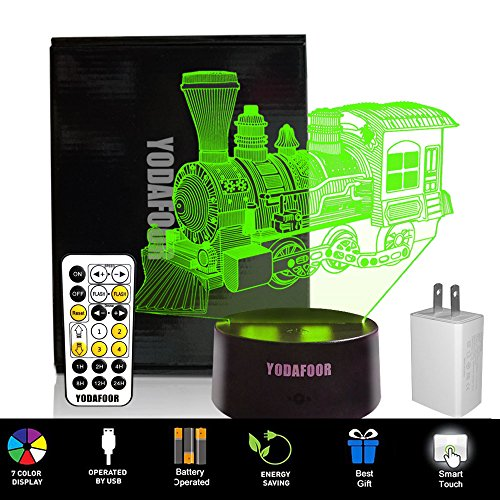 YODAFOOR 3D Night Lights for Kids Baby Teen 3D Steam Train Illusion Lamp, Birthday Party Gift Anniversary Present, Multi Color Remote Lamp Room Bedside Table Desk Decor Nursery - Train Anniversary