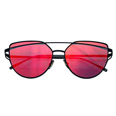 fe2c8d50d2 Image Unavailable. Image not available for. Color  Womens Men Glasses Metal Flat  Lens Vintage Fashion Mirrored Oversized Sunglasses Red Color