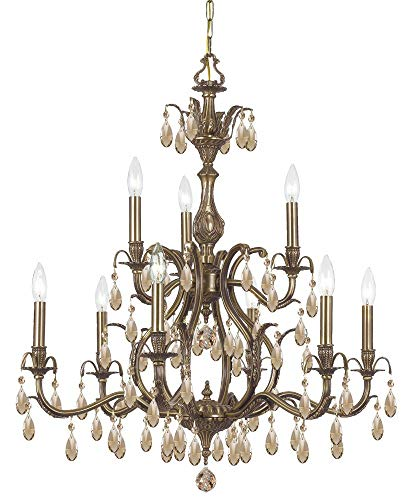 Crystorama 5569-AB-GT-MWP Crystal Accents Nine Light Chandelier from Dawson collection in - Crystal Ab Mwp Gt