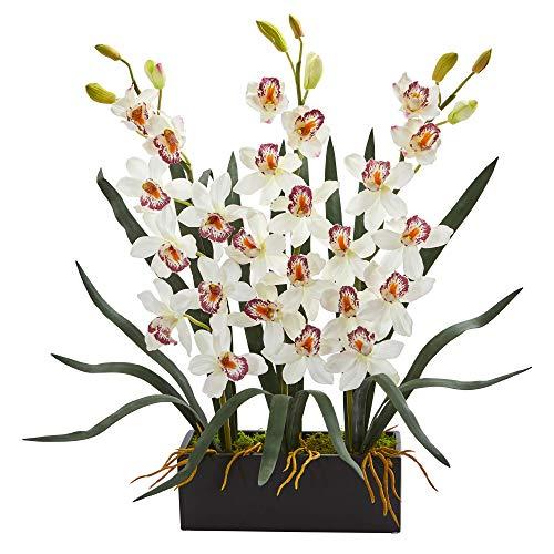 (Nearly Natural 1564-WH Cymbidium Orchid Artificial Black Vase Silk Arrangements, White)