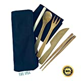 Bamboo Utensil Set with Straw, Napkin & Carry Case by Bare Vida Knife, Fork, Spoon, Chopsticks & Straw - Eco Friendly Gift - 100% Organic Bamboo - Made in Bali (Black)