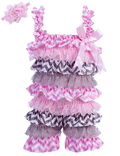 Zcaynger Baby Girls Bowknot Lace Folds Romper and Headband Infant Clothes