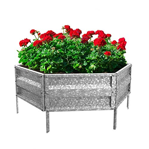 Outdoor Iron Planter Patio Garden Bed Solid Galvanized Metal Plant Holder Durable Flower Planter Display Rack Elegant Sturdy Yard Herbs Farm Raised Flower Bed