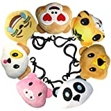 Animals Emoji Key Chain Plush Stuffed Toy Mini Pillow for Boy & Girl, Kids Birthday Party Supplies Favor, Emoticon Keychain Pendant Decoration Backpack Clip, Bonus 4 inch Rainbow Poop Emoji-Pop Gift