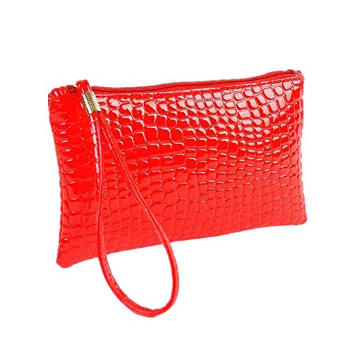 Bag Purse Handbag Purse Clutch Leather Coin Women Kinrui Crocodile Red Women xZ4C07qqw