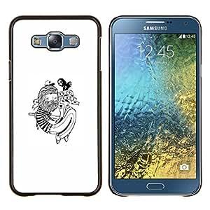 Hipster Tatuaje- Metal de aluminio y de plástico duro Caja del teléfono - Negro - Samsung Galaxy E7 / SM-E700