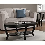 Lewis Distressed Black Oval Coffee Table