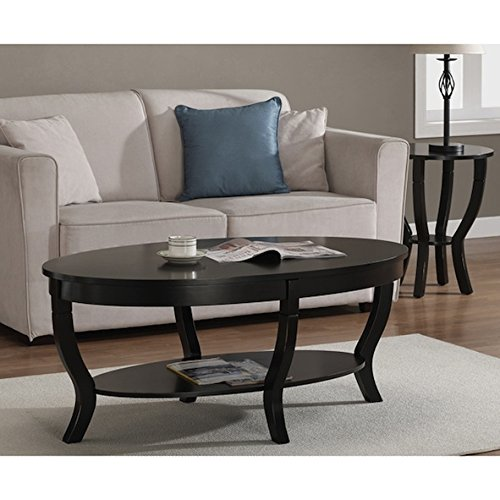 Lewis Distressed Black Oval Coffee Table (Black Oval Cocktail Table)