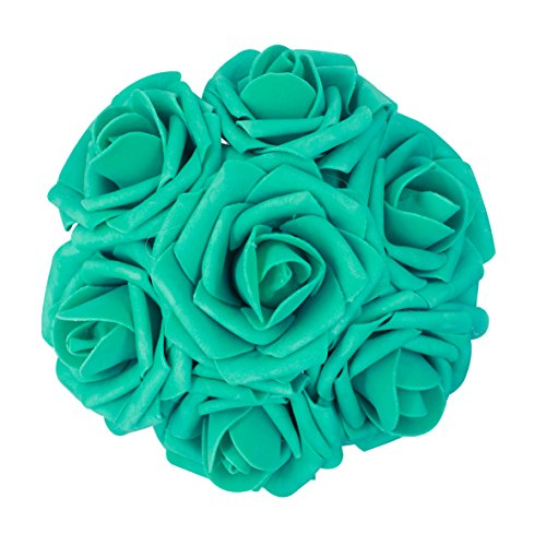 AnParty 25pcs Artificial Flower,Real Touch Artificial Foam Roses Decoration DIY Wedding Bridesmaid Bridal Bouquet Centerpieces Party (25, Teal Green) (Teal Green Roses)